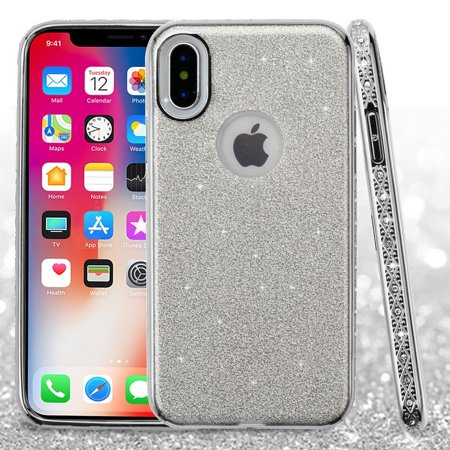 Insten Glitter Dual Layer Hybrid Hard Plastic/Soft TPU Rubber Case Cover With Diamond For Apple iPhone X, Silver (Combo with Clear Nano-Tech Protector)