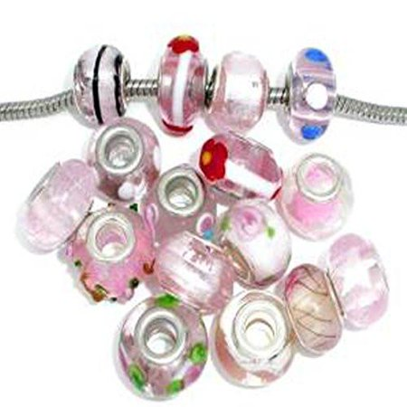 Pack of 10 Pink Mix Lampwork Murano Glass Beads For Snake Chain Charm - Snake Lampwork Glass