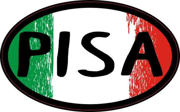 4in x 2.5in Oval Italian Flag Pisa Sticker by StickerTalk®