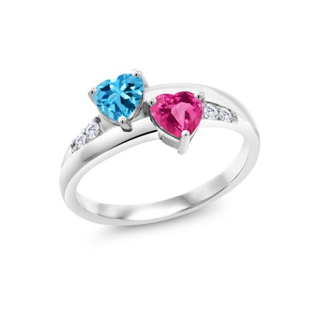 1.24 Ct Swiss Blue Topaz Pink Created Sapphire 925 Sterling Silver Lab Grown Diamond Ring