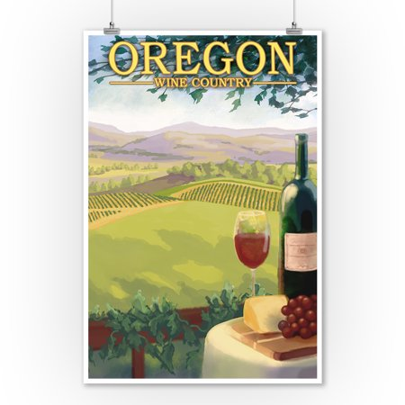 Oregon - Wine Country - Lantern Press Artwork (9x12 Art Print, Wall Decor Travel