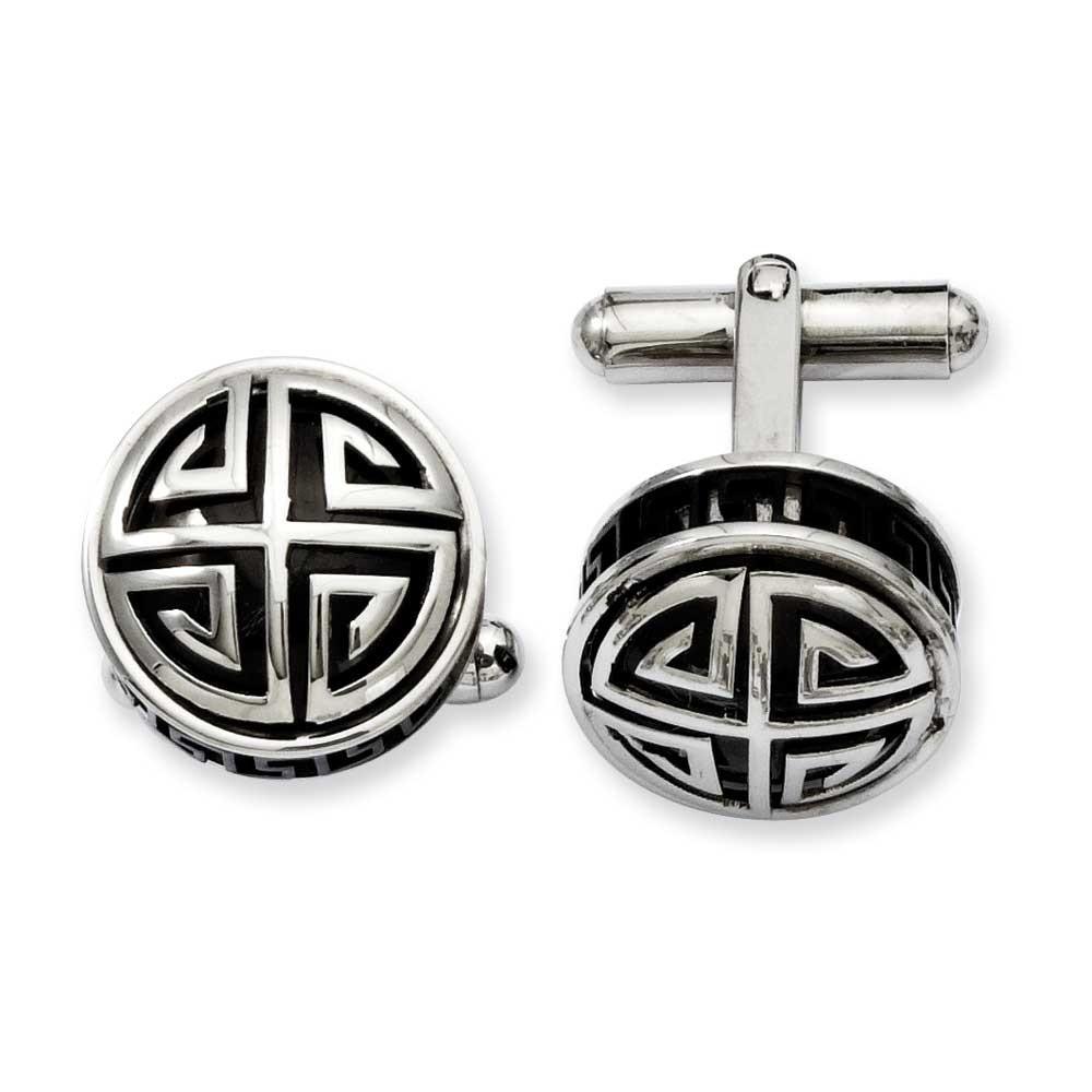 Stainless Steel Black Enamel and Greek Key Cuff Links