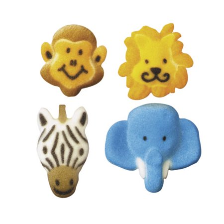 Jungle Animal Molded Sugar Cake/Cupcake Decorations - 12 ct
