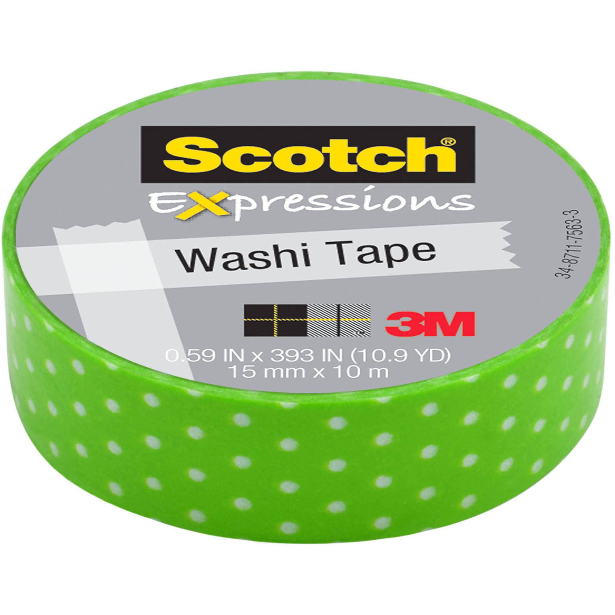 "Scotch Expressions Washi Tape, .59"" x 393"", Green/White Swiss Dot"