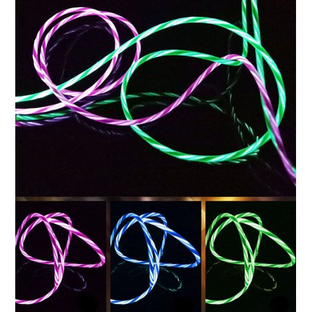 Flowing Visible LED Light UP Micro USB Data Sync Charger Cable For Smart -
