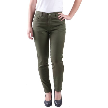 Women's Jeans Jeggings Five Pocket Stretch Denim Pants (Olive Green - Small)