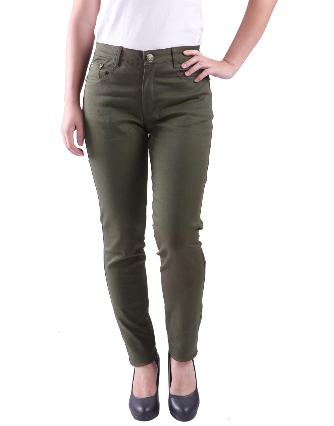 Women's Jeans Jeggings Five Pocket Stretch Denim Pants (Olive Green - Small)