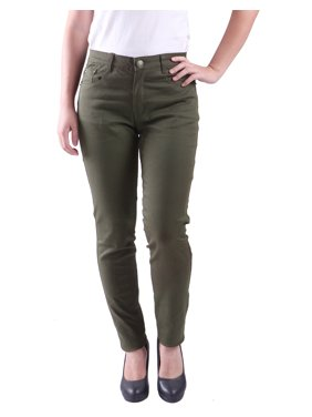 85f5647d9aa98 Product Image Women's Jeans Jeggings Five Pocket Stretch Denim Pants (Olive  Green - Small)