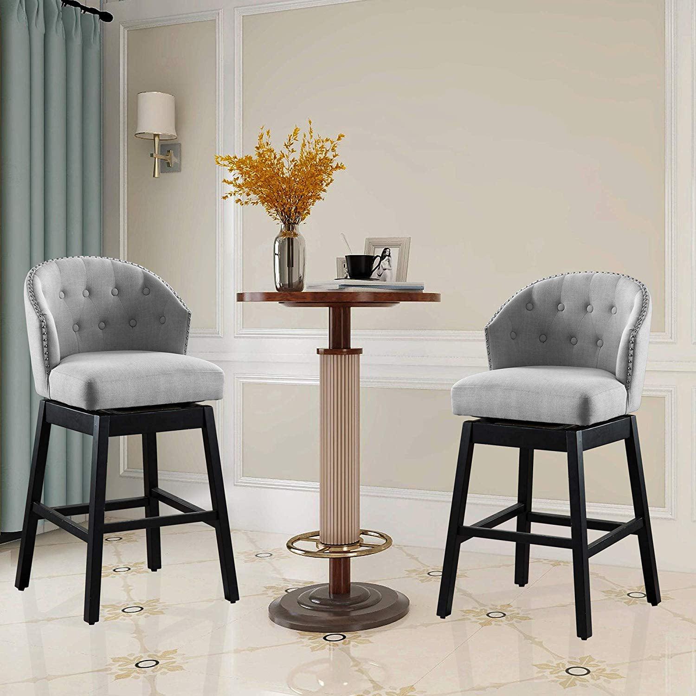 vanity art kitchen bar stools set of 2 solid wood tufted