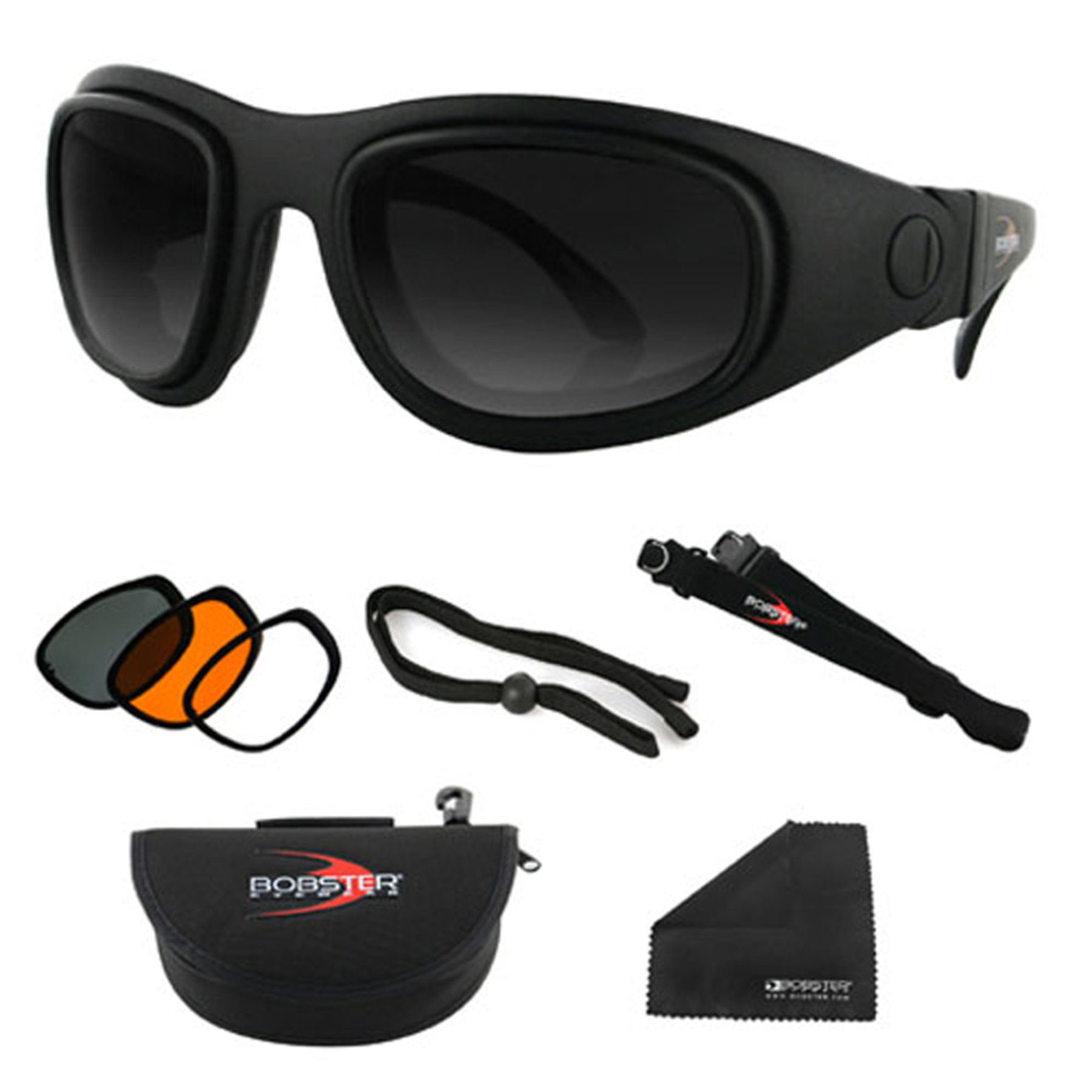 Bobster Sport & Street 2 Convertible Sunglass, Black Frame, 3 Lenses