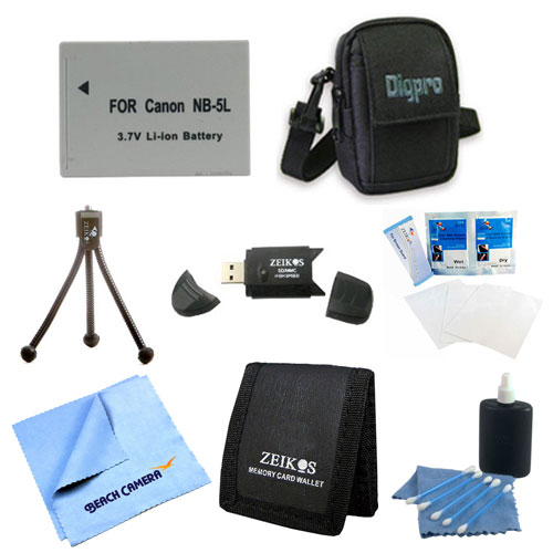 Special Loaded Value NB-5L Battery Kit for Canon S100,S110, SX230 & SX210 - Includes Premium Tech PT-NB5l 1200mah Battery Pack, Carrying Case, USB 2.0 Card Reader, Mini Tripod, 3 Card Memory Card Wal
