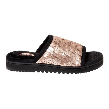 DF by Dearfoams Woman's Reversible Sequin Slide Slippers (Skylanders Slippers)