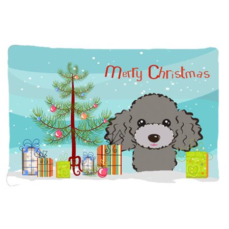 Carolines Treasures BB1631PILLOWCASE Christmas Tree & Silver Gray Poodle Fabric Standard Pillowcase - image 1 of 1