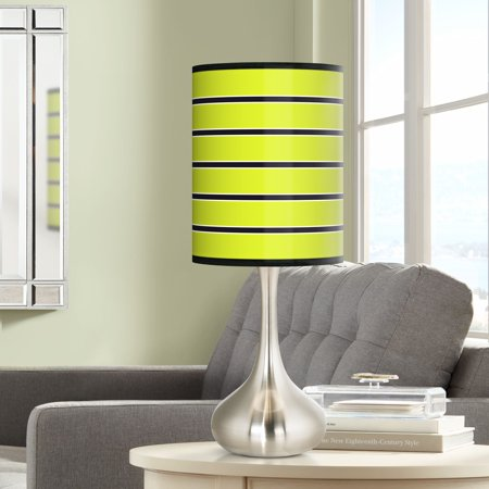 Giclee Glow Bold Lime Green Stripe Giclee Droplet Table Lamp