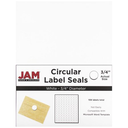 Seal Paper (JAM Paper Round Circle Label Sticker Seals, 3/4, White, 108/pack)