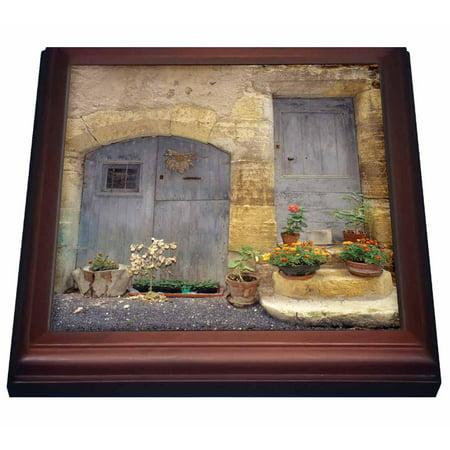 3dRose France St Come dOit, Stone building, wooden doors - EU09 AJN0006 - Alison Jones, Trivet with Ceramic Tile, 8 by 8-inch
