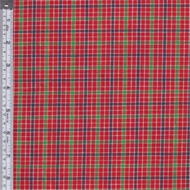 Textile Creations RW0128 Rustic Woven Fabric, Plaid Red, Green And Yellow, 15 yd.