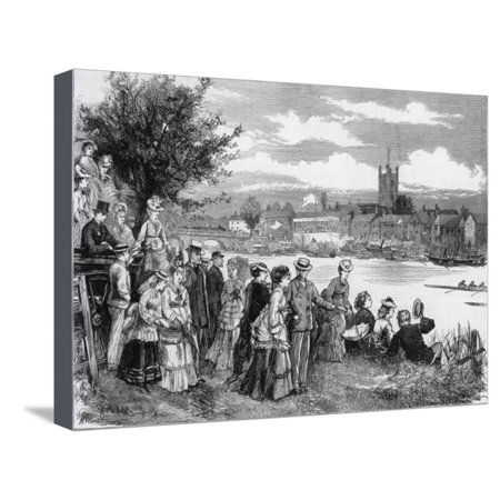 - The Regatta Watched from the Banks of the Thames with the Town of Henley in the Distance Stretched Canvas Print Wall Art By H. Wood