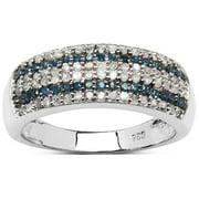 Malaika Olivia Leone Sterling Silver 0.52ct TDW Blue and White Diamond Ring