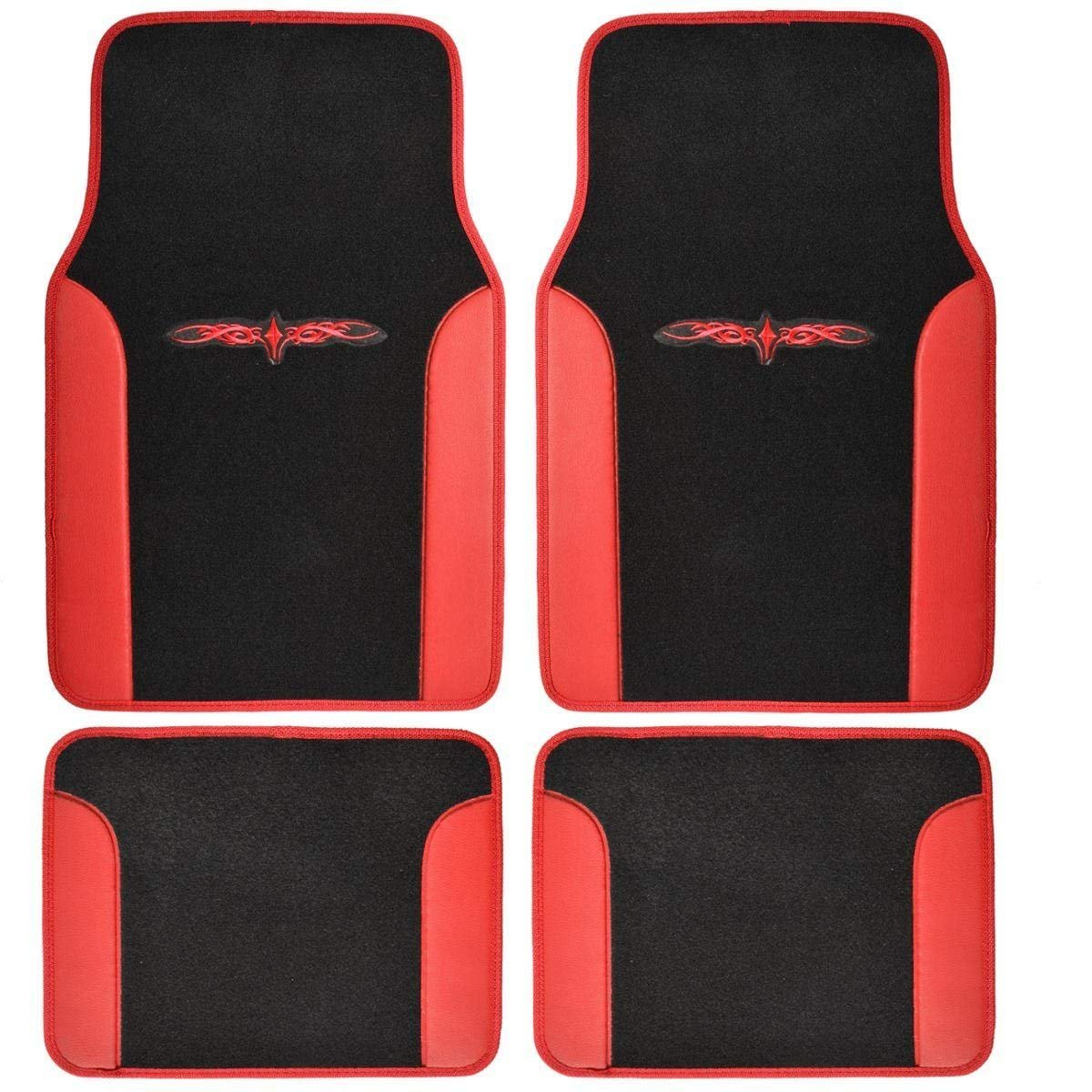 A Set of 4 Universal Fit Plush Carpet with Vinyl Trim Floor Mats For Cars / Trucks - Tribal Red