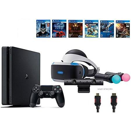 PlayStation VR Start Bundle 10 Items:VR Start Bundle,Sony PS4 Slim 1TB Console - Jet Black,6 VR Game Disc Until Dawn:Rush of Blood, EVE:Valkyrie,Battlezone,Batman:Arkham VR,