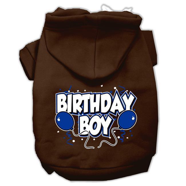 Birthday Boy Screen Print Pet Hoodies Brown Size Xs 8
