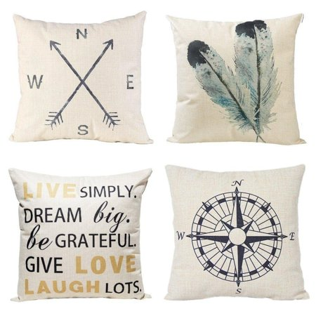 Vinyl Boutique Shop Nautical and Quote 18 Inch Decorative Throw Pillow Covers (set of 4) ()
