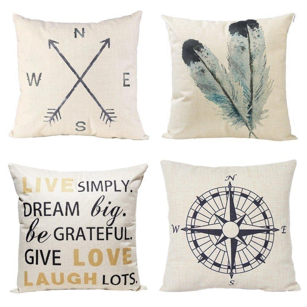 Throw Pillow Cover 18x18-Nautica Blue Latice Decorative Throw Pillow Cover