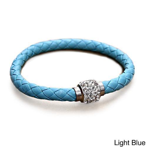 Braided Leather Rhinestones Crystal Clasps Bangle Bracelet Light Blue Leather Bracelet with Crystal Clasps