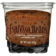 Dark Chocolate Covered Espresso Coffee Medium Beans by TJ, Natural Caffeinated  14 oz.