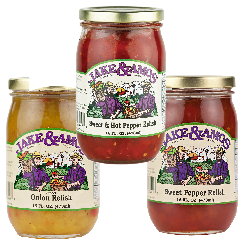 Jake & Amos Relish Variety Pack 16 oz. Sweet & Hot Pepper, Sweet Pepper, Sweet Onion (1 Jar of Each)