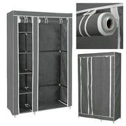 "Clevr 69"" Portable Closet Storage Organizer Wardrobe Clothes Rack with Shelves, Grey"