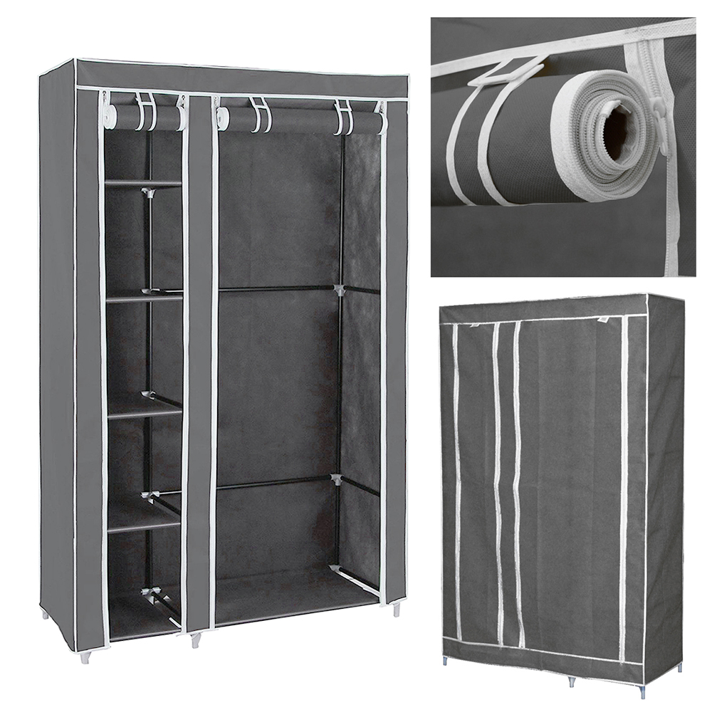 "Clevr 69"" Portable Closet Storage Organizer Wardrobe Clothes Rack with Shelves, Grey"