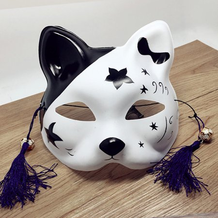 Japanese Fox Half Mask with Tassels and Small Bells Cosplay Mask for Masquerades Festival Costume Party Show Style:Cat J](Guy Fox Mask)