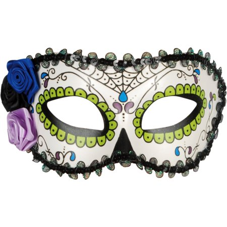 Star Power Day of the Dead Sugar Skull Half Mask, White Red, One-Size - Half Skull Face Halloween