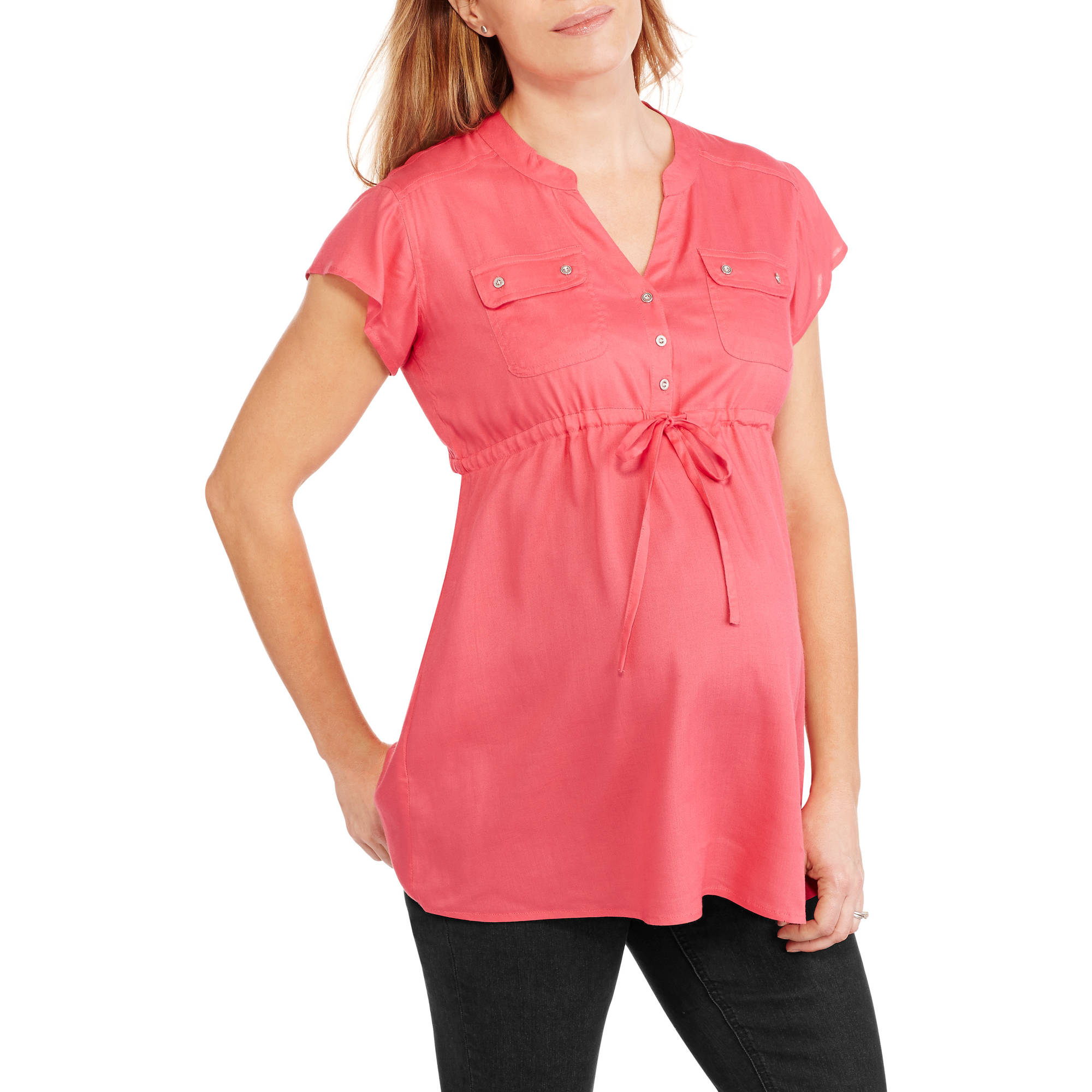 Oh! Mamma Maternity Solid Rayon Henley Neck 2 Front Pockets Drawstring Waist Cap Sleeve Top