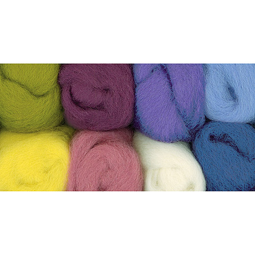 "Wistyria Editions Wool Roving, 12"" long; 2-ounce, 8-color, Muted"