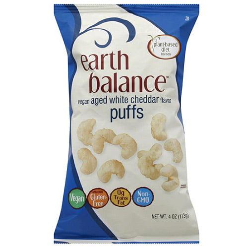 Earth Balance Vegan Aged White Cheddar Flavor Puffs, 4 oz, (Pack of 12)