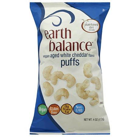 Earth Balance Vegan Aged White Cheddar Flavor Puffs, 4 oz, (Pack of -