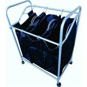 Ybm Home 1620-11 Triple Laundry Sorter Hamper, Chrome & Black