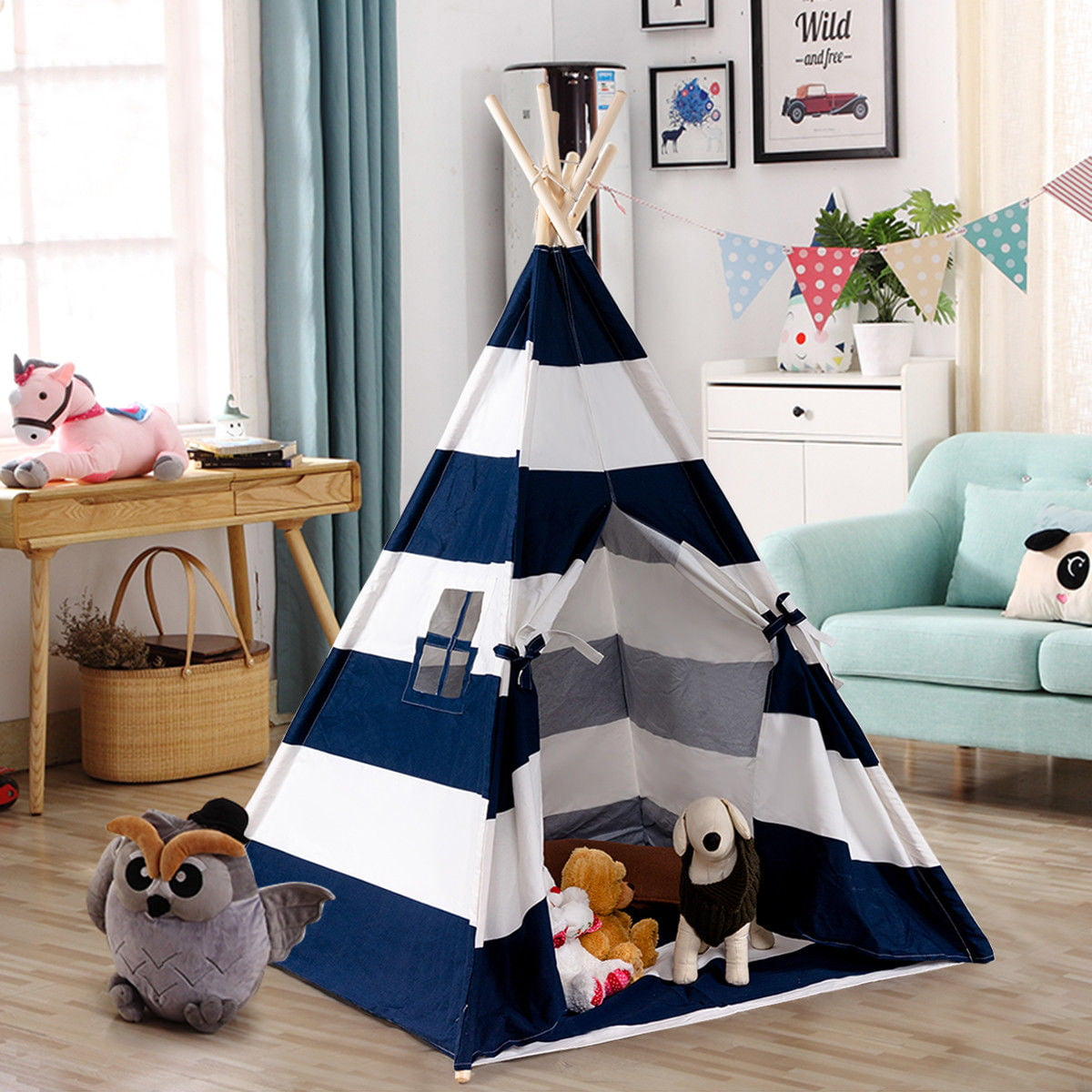 Gymax Portable Play Tent Teepee Children Playhouse Sleeping Dome w Carry Bag by Gymax