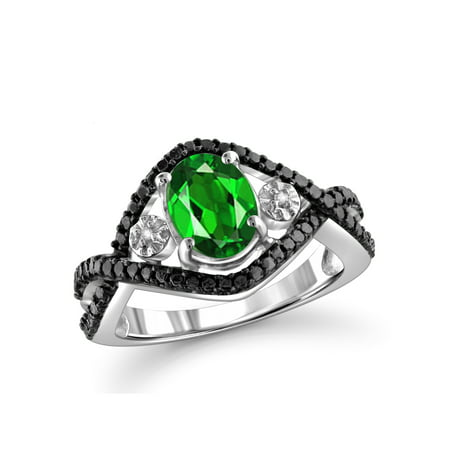 1 1/5 Carat T.G.W. Chrome Diopside And White Diamond Accent Sterling Silver Ring