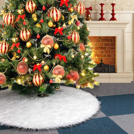 Reactionnx Christmas Tree Skirt Large Snowy White Faux Fur Xmas Tree Skirt for Christmas Decorations Indoor Outdoor ()