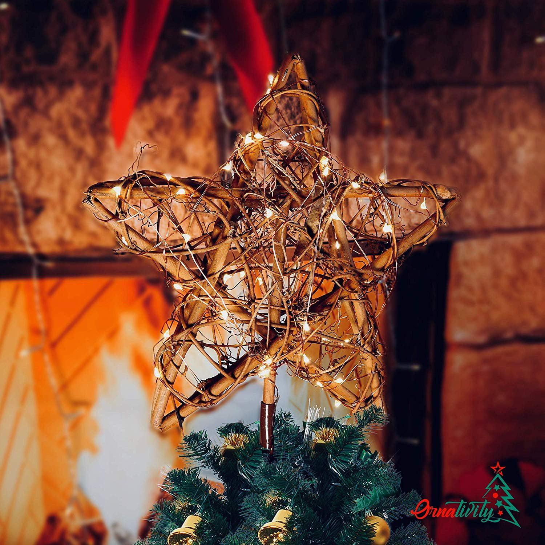 Amosfun 10pcs Rattan Star Christmas Tree Topper Decorations Ornaments 10cm