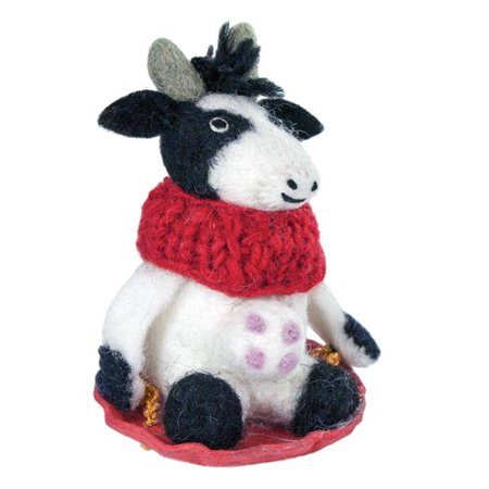 Wild Woolies DZI471294000 Handmade & Fair Trade Bessie the Cow Felt Holiday Ornament - image 1 of 1