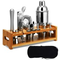 Gymax 23Pcs Bartender Kit Cocktail Shaker Set Stainless Steel Bar Tools w/Bamboo Stand