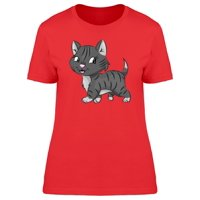Cartoon Gray Kitten With Stripes Tee Women's -Image by Shutterstock