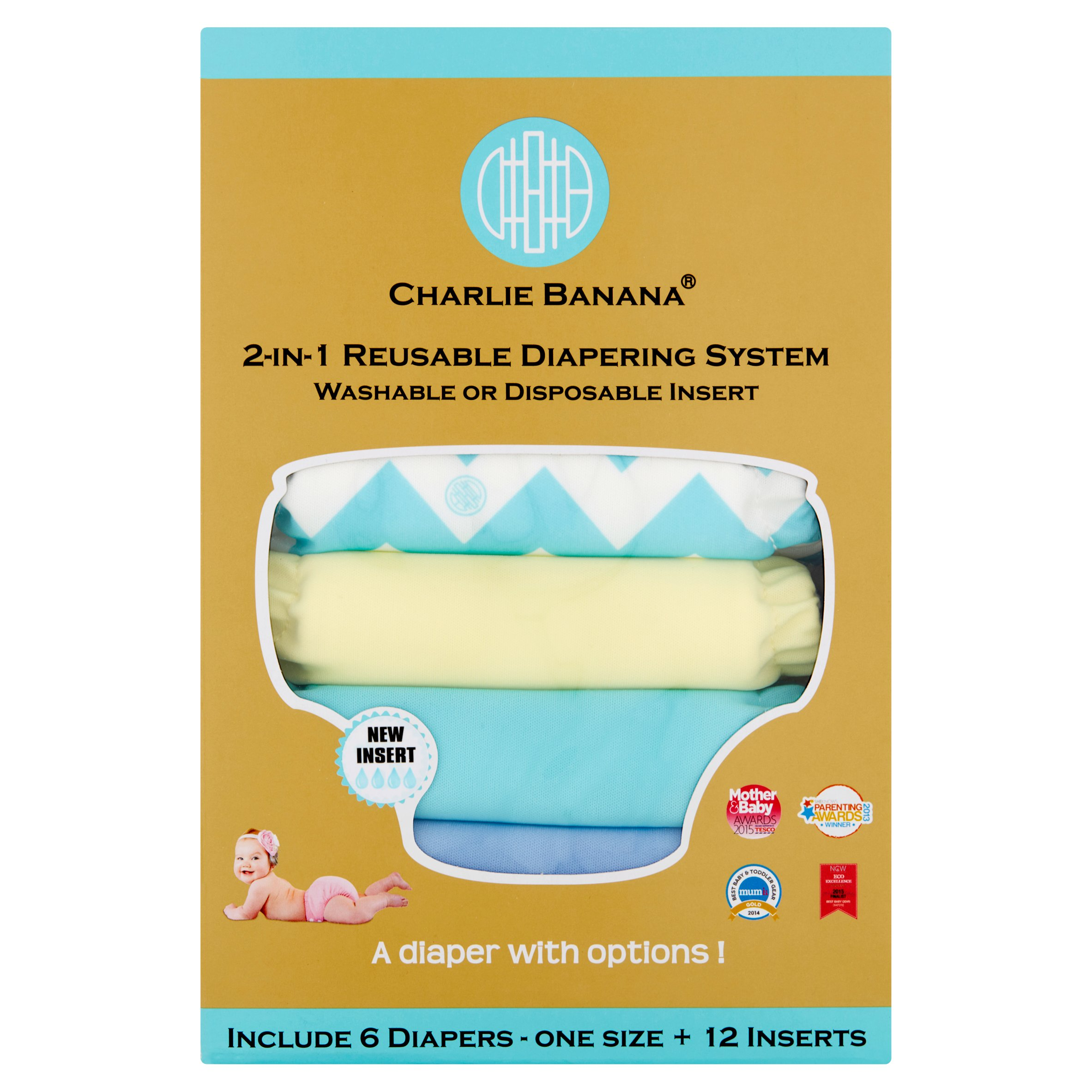 Charlie Banana 888332 6 Diapers 12 Inserts Uni-Chevron Hybrid AIO Diapering System One Size by Charlie Banana
