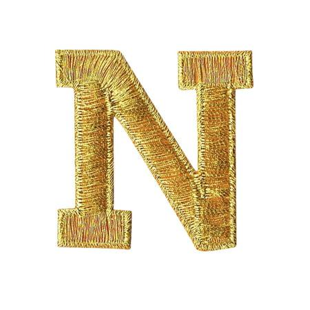 Easy Applique Blocks (Alphabet Letter - N- Color Gold - 2