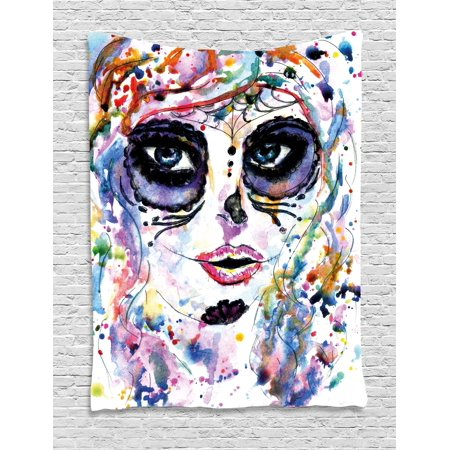 Sugar Skull Decor Tapestry, Halloween Girl with Sugar Skull Makeup Watercolor Painting Style Creepy, Wall Hanging for Bedroom Living Room Dorm Decor, 40W X 60L Inches, Multicolor, by Ambesonne - Quilted Halloween Wall Hangings